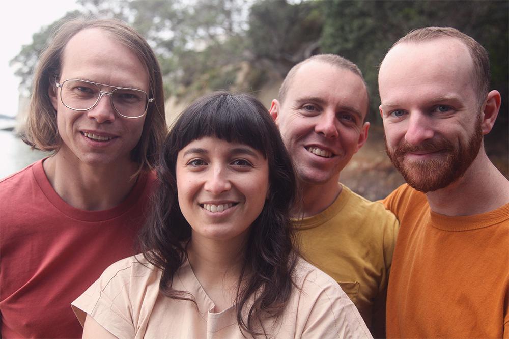 The Beths, left to right: Jonathan Pearce (Guitar), Elizabeth Stokes (Lead Vocal, Guitar), Ben Sinclair (Bass), Tristan Deck (Drums)
