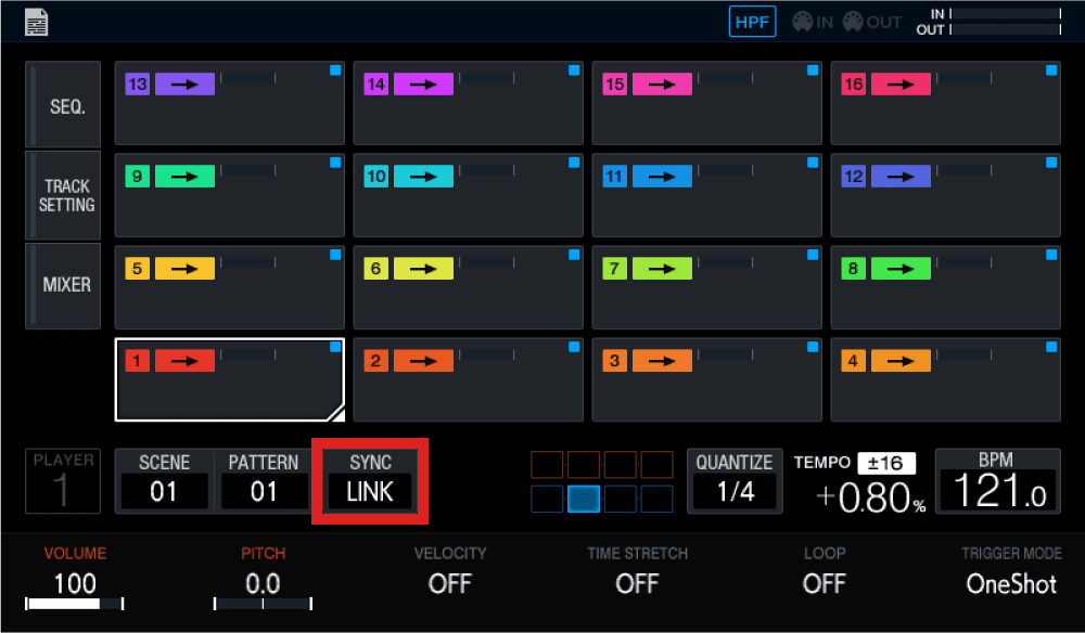 Open the SYNC menu on the DJS-1000 touch screen