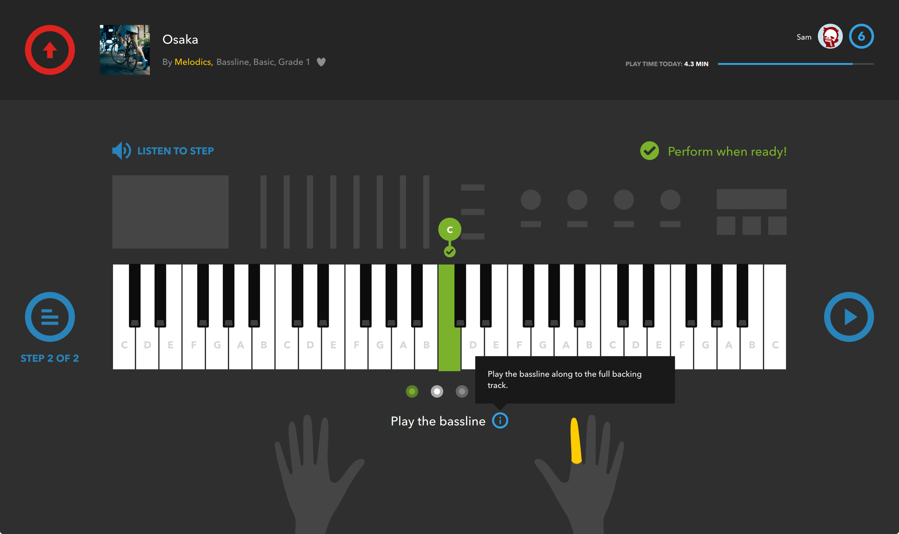 How do I see which fingers to use on which keys?